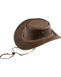 Bullhide Kids' Cedar Grove Leather Outback Hat, , hi-res