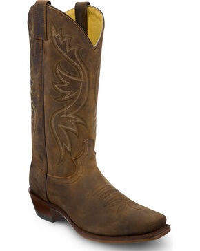 Justin Men's Apache Embroidered Western Boots, Brown, hi-res