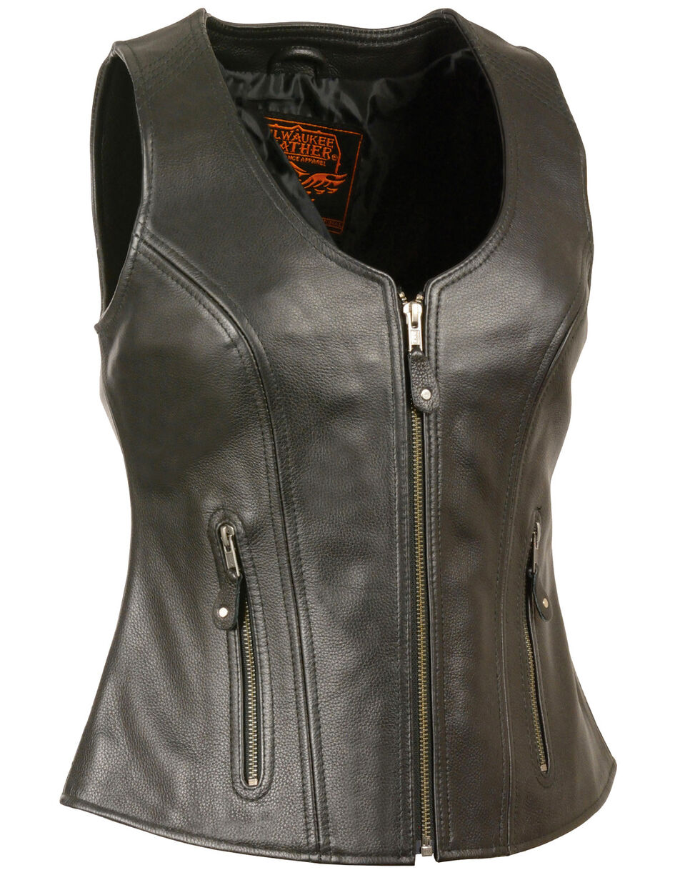 Milwaukee Leather Women's Open Neck Zipper Front Leather Vest - 3X, Black, hi-res