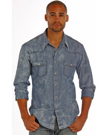 Rock & Roll Cowboy Men's Blue Chambray Dobby Solid Shirt , , hi-res