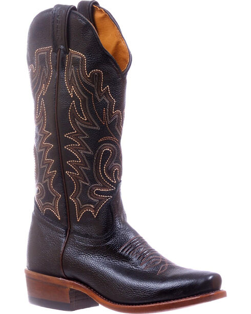 Boulet Black Cutter Cowgirl Boots - Square Toe , Black, hi-res