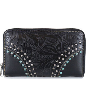 Trinity Ranch Women's Western Embossed Wallet, Black, hi-res