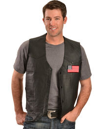 Vintage Leather Men's American Flag Leather Vest, , hi-res