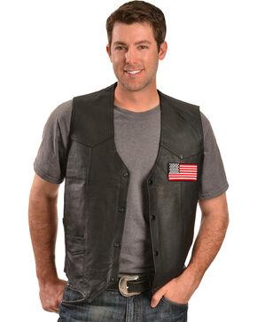 China Leather Men's American Flag Leather Vest, Black, hi-res