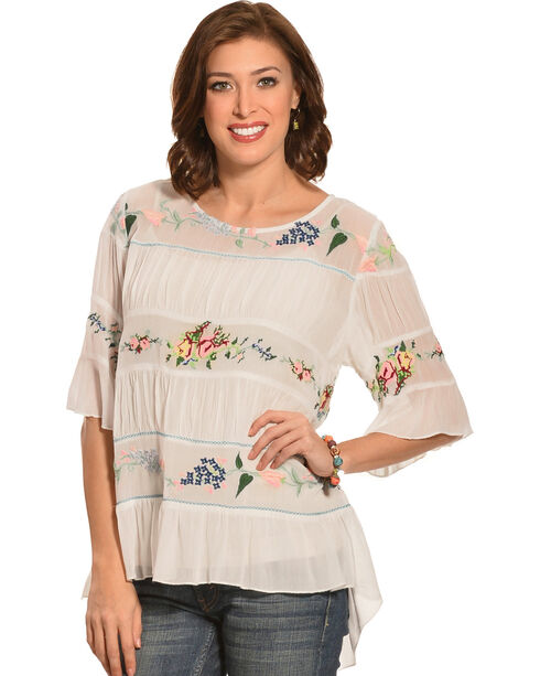 Pink Cattlelac Ivory Embroidered Bohemian Top , Ivory, hi-res