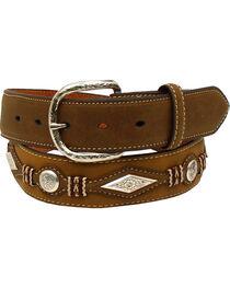 Nocona Men's Scalloped Overlay Leather Belt , , hi-res