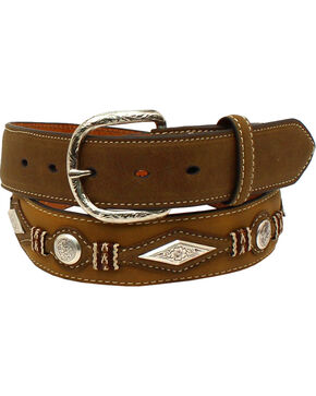 Nocona Men's Scalloped Overlay Leather Belt , Medium Brown, hi-res