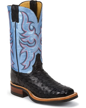 Justin Women's Full Quill Ostrich Western Boots, Black, hi-res