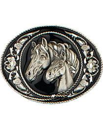 Western Express Men's Black Horseheads Belt Buckle, , hi-res