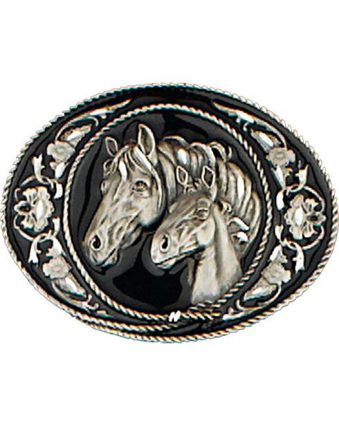 Western Express Men's Black Horseheads Belt Buckle, Black, hi-res