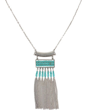 Shyanne® Women's Turquoise & Fringe Necklace, Silver, hi-res