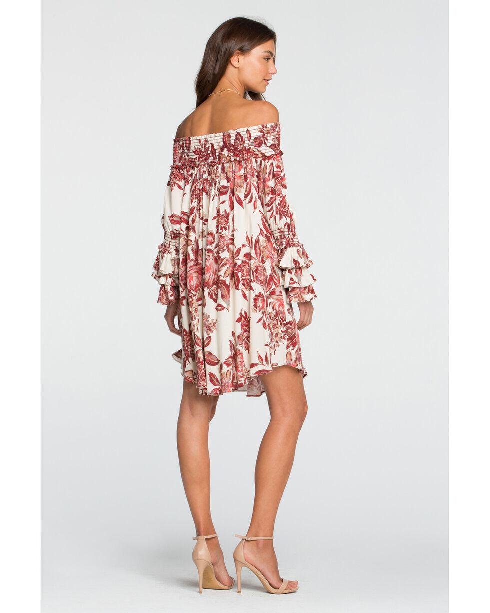 Miss Me Women's Autumn Kisses Off The Shoulder Floral Dress, , hi-res
