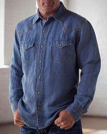 Ryan Michael Men's Blue Waffle Texture 4 Needle Shirt, , hi-res