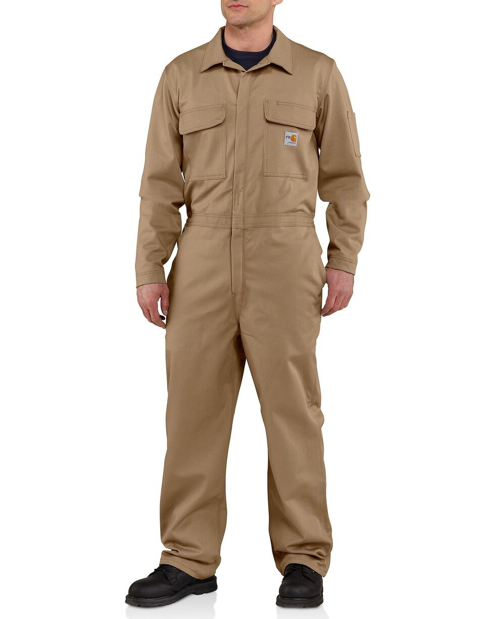 Carhartt Men's Flame Resistant Traditional Twill Coveralls, Khaki, hi-res