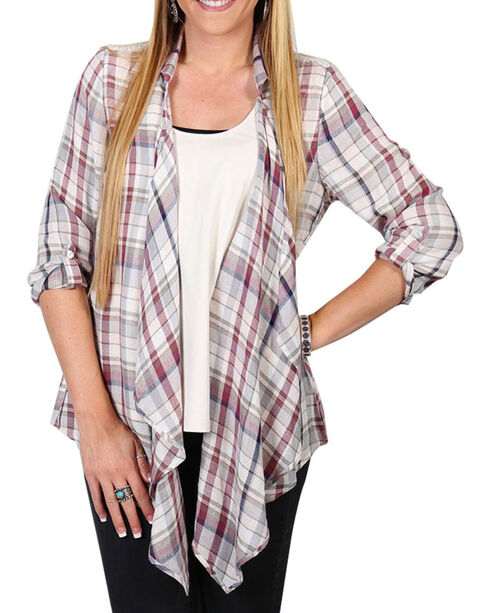 Shyanne® Women's Plaid Lace Back Cardigan, Multi, hi-res