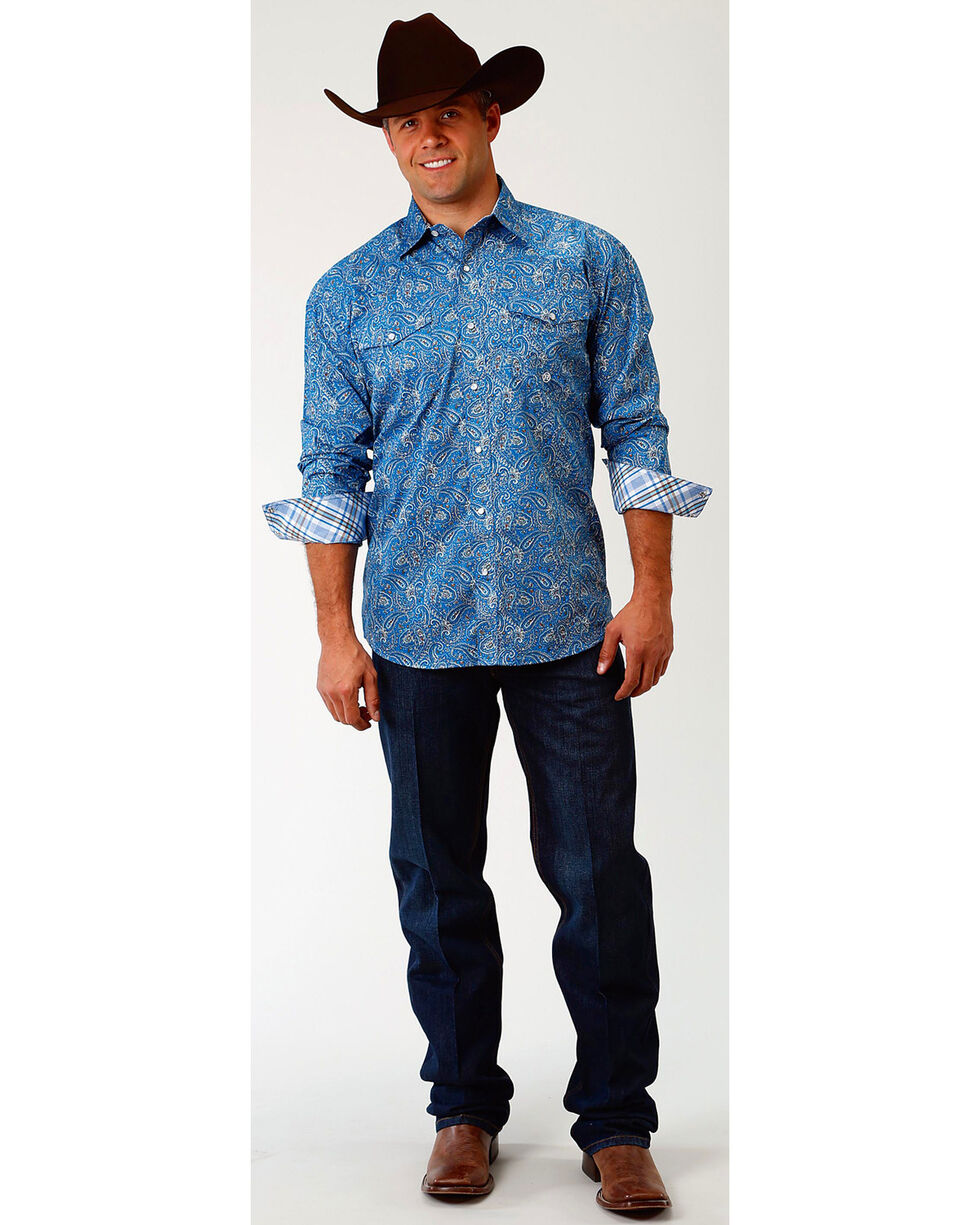 Roper Men's Blue Depths Paisley Long Sleeve Western Snap Shirt, Blue, hi-res