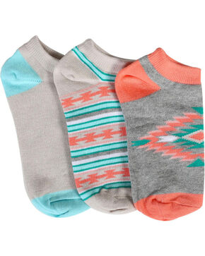 Shyanne® Women's Southwest Print 2-Pair Ankle Sock Set, Multi, hi-res