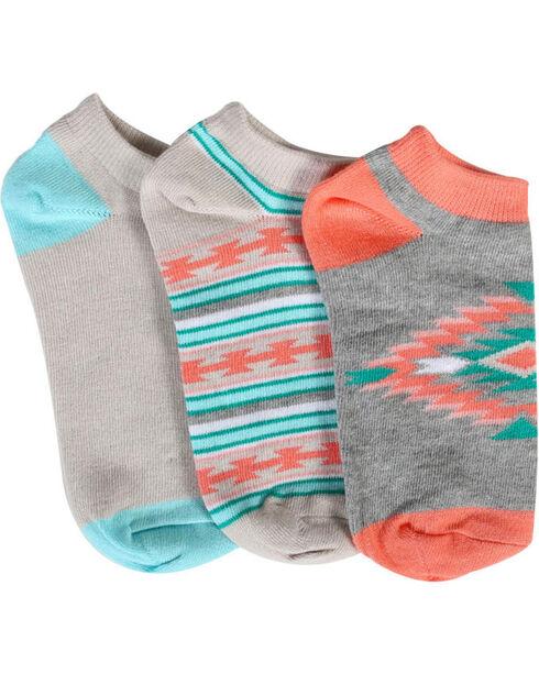 Shyanne® Women's Southwest Print 2-Pair Ankle Sock Set, Multi, hi-res