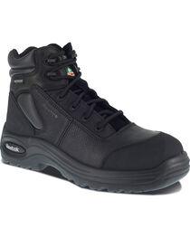 "Reebok Men's Trainex 6"" Lace-Up Waterproof Work Boots - Composition Toe, Black, hi-res"