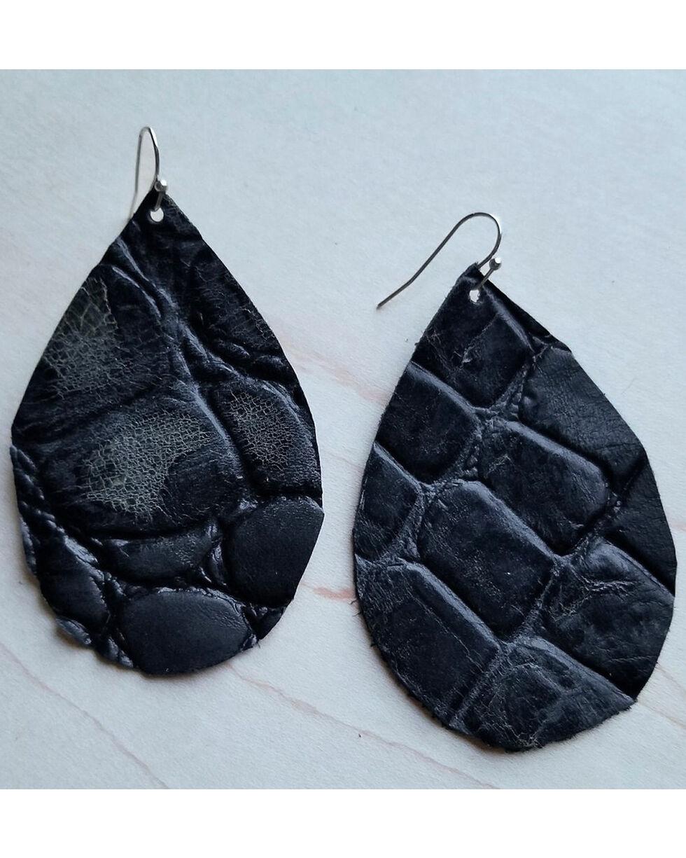 Jewelry Junkie Women's Black Gator Leather Teardrop Earrings, Black, hi-res