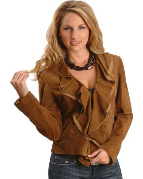 Scully Women's Ruffle Front Boar Suede Jacket, Brown, hi-res
