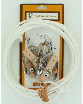 Little Outlaw Toy Rope & Spur Set, Brown, hi-res