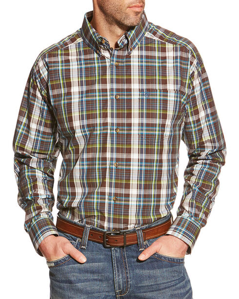 Ariat Men's Leon Pro Series Performance Long Sleeve Shirt, Brown, hi-res