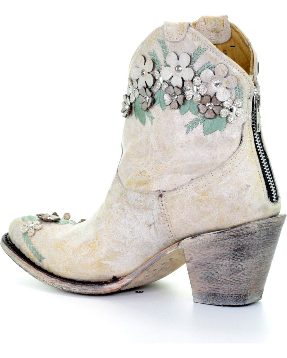 Corral Women's White Floral Overlay Ankle Boots - Round Toe , White, hi-res