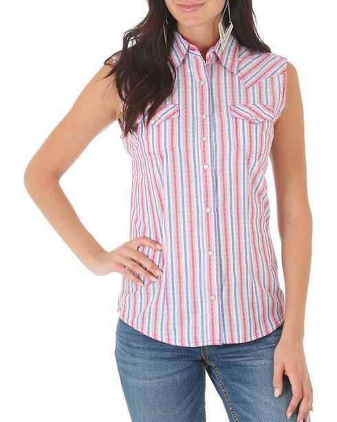 Wrangler Women's Rock 47 Stripe Sleeveless Shirt, Red, hi-res