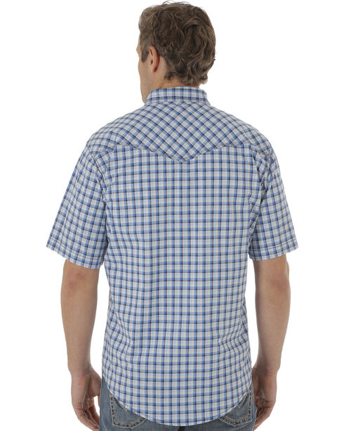 Wrangler 20X Men's Blue & White Plaid Two Pocket Short Sleeve Shirt , White, hi-res