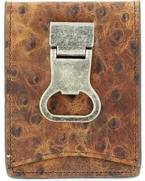 DBL Barrel Ostrich Money Clip Wallet, Brown, hi-res