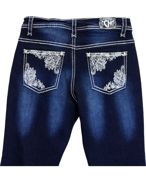 Cowgirl Hardware Girls' Lace Pocket Jeans (7-16), Indigo, hi-res