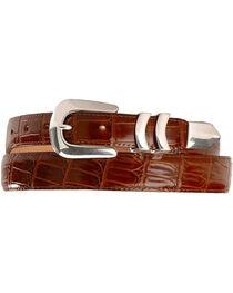 Crocodile Print Leather Belt, , hi-res