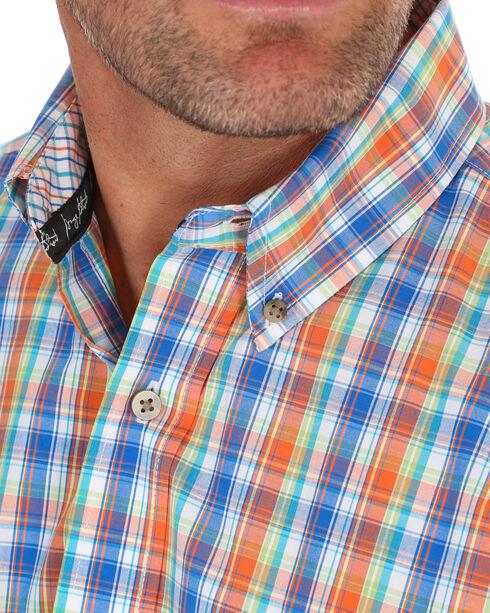Wrangler Men's Orange George Strait Plaid Shirt , Orange, hi-res