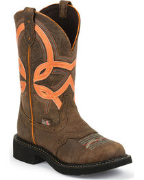 Justin Women's Gypsy Overlay Round Toe Western Boots, Barnwood, hi-res
