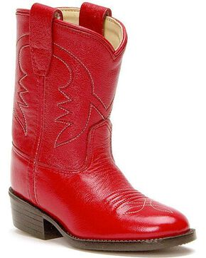 Old West Toddler Girls' Cowboy Boots, Red, hi-res