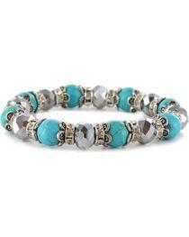 Shyanne® Women's Beaded Silver & Turquoise Bracelet, , hi-res