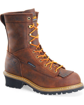 "Carolina Men's Logger 8"" Work Boots, Brown, hi-res"