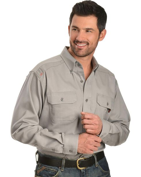 Ariat Men's Woven Solid Print Fire Resistant Work Shirt, Silver, hi-res