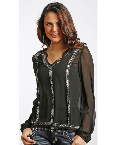 Rock & Roll Cowgirl Women's Black Long Sleeve Top , Black, hi-res