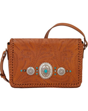 American West Women's Lariat Love Crossbody Flap Bag/Wallet , Tan, hi-res