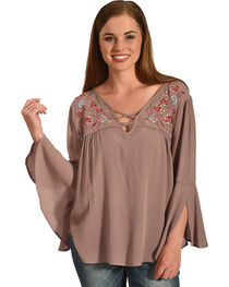 Miss Me Women's Dusty Pink 3/4 Sleeve Embroidered Top , , hi-res
