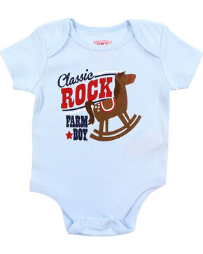 Farm Boy Infants' Classic Rock Short Sleeve Onesie, Blue, hi-res