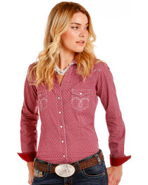 Rough Stock by Panhandle Women's Red Vintage Checkered Shirt , , hi-res