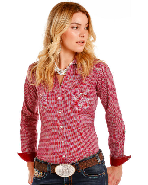 Rough Stock by Panhandle Women's Red Vintage Checkered Shirt , Red, hi-res