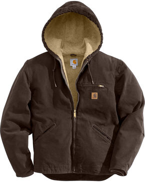 Carhartt Men's Sandstone Sierra Sherpa Lined Jacket, Brown, hi-res
