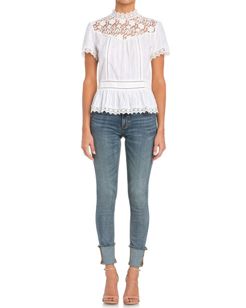Miss Me Short Sleeve Lace Top, Cream, hi-res