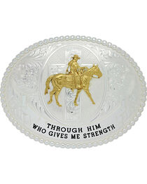 Montana Silversmiths Men's Gives Me Strength Belt Buckle , , hi-res