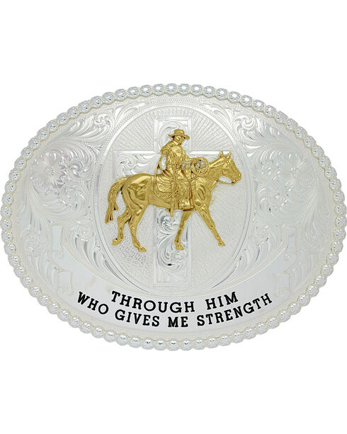 Montana Silversmiths Men's Gives Me Strength Belt Buckle , Silver, hi-res