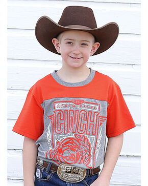 Cinch Boys' Logo Short Sleeve Tee, Orange, hi-res